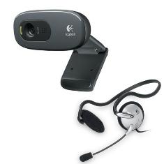 Camara Webcam Logitech C270 Hd   Auriculares Headset 120