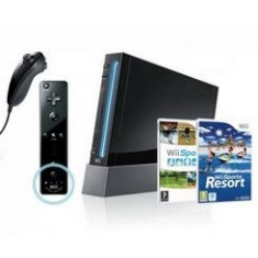 Consola Nintendo Wii Negra   Juego Wii Sports   Juego Wii Sports Resort