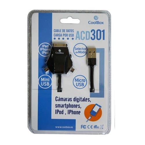 Cable Usb Cargador Coolbox Dispositivos Moviles Acd301