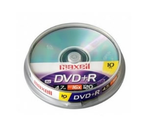 Dvd R Maxell Tarrina De 10 Unidades  120 Min Video  47 Gb  1-16x Speed