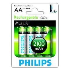 Ver BLISTER PHILIPS CUATRO PILAS AA RECARGABLE R6NM 2100mAh NiMH MULTILIFE 12V