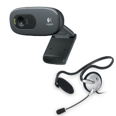 Ver CAMARA WEBCAM LOGITECH C270 HD   AURICULARES HEADSET 120