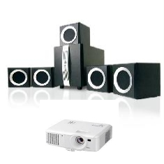 Kit Videoproyector Mitsubishi Ex240u   Regalo Altavoces Phoenix Home Cinema 51  1200 Watt