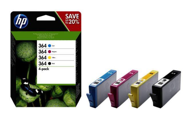 HP Pack de ahorro de 4 cartuchos de tinta original 364 negro