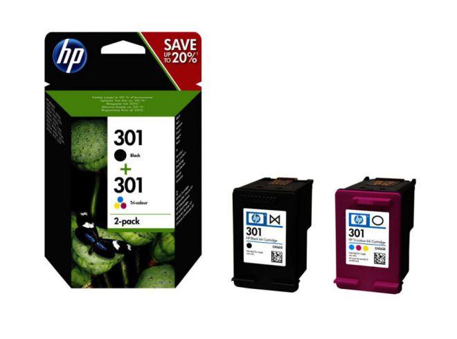 HP Paquete combinado de cartuchos de tinta tricolor y negra 301