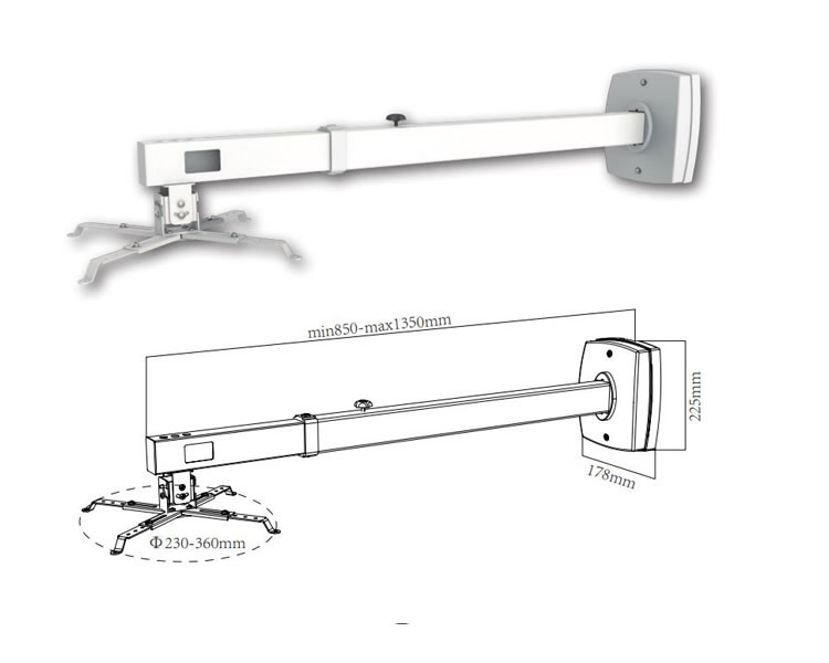 Ver SOPORTE VIDEO PROYECTOR PARED BLANCO 85-135  SV03P APPROX