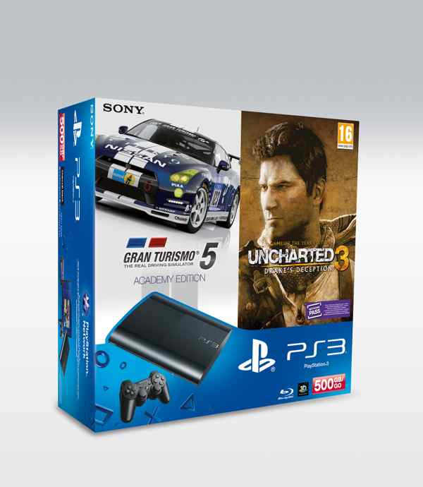 Consola Ps3 Slim 500 Gb Gt 5 Academy Edition Unchart 3 Goty