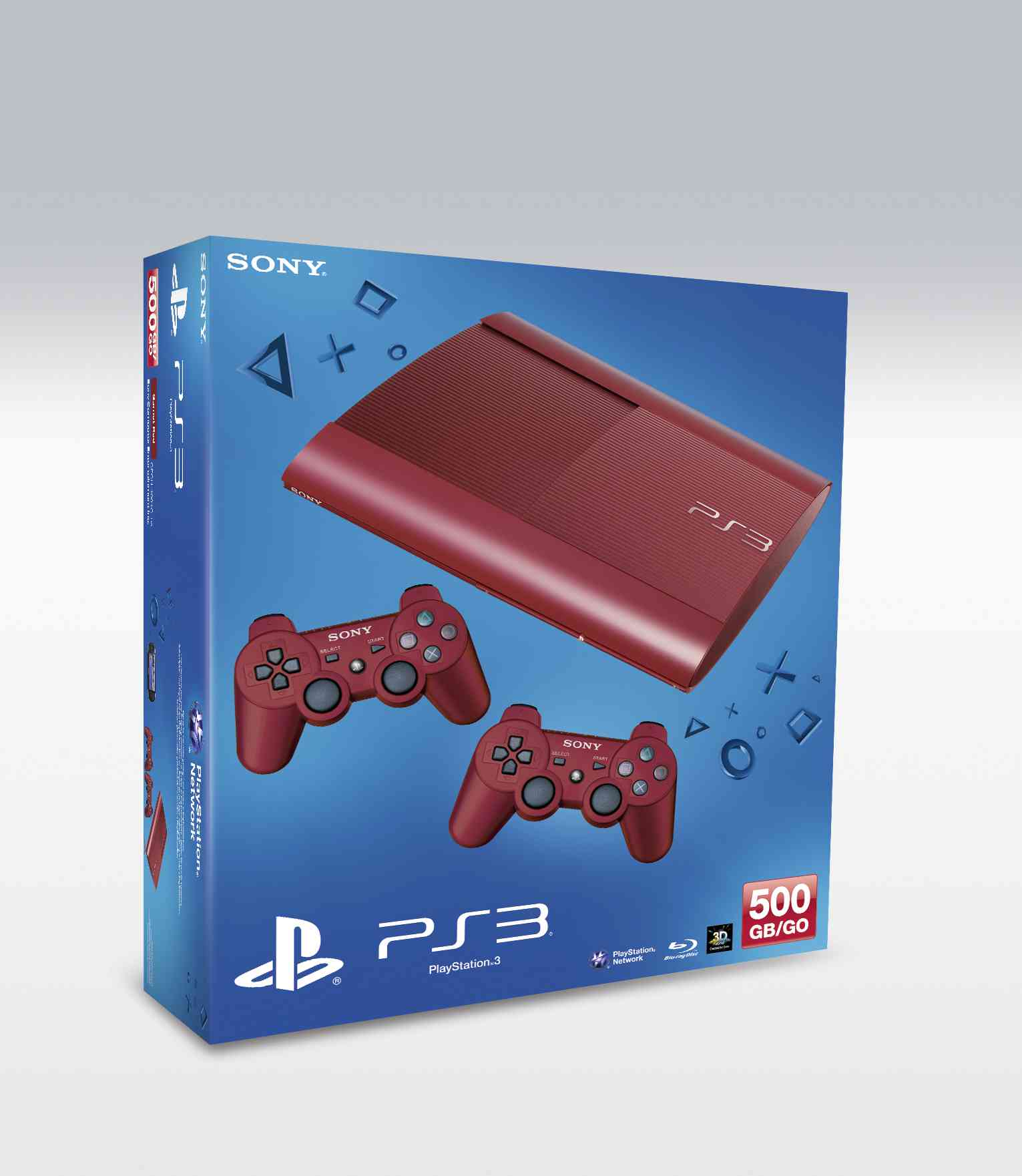 Consola Ps3 Slim 500 Gb Roja   2 Dual Shock Rojo