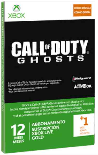 Tarjeta Xbox Live Gold 12 Meses 1 Mes Cod Ghost  X360xbox O