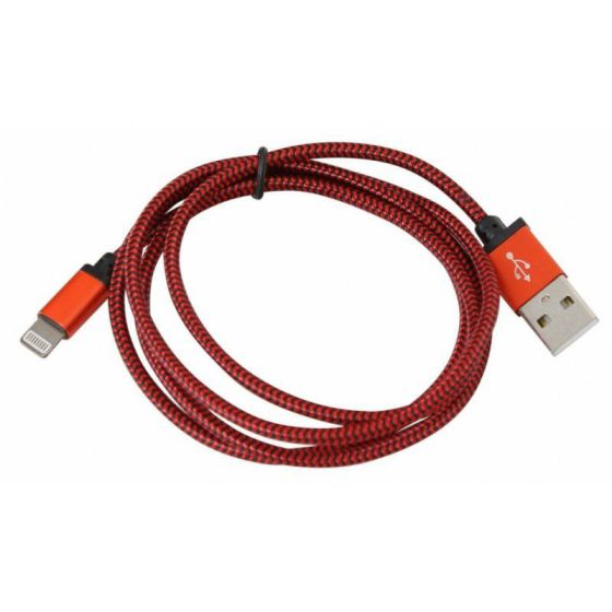 PLATINET CABLE APPLE TELA LIGHTNING 1M CAJA ROJO