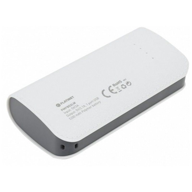 Platinet Power Bank 5200mah Cuero Blanco Cable
