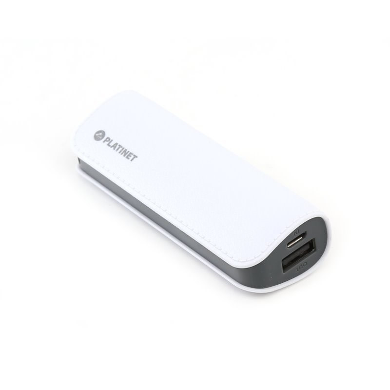 PLATINET POWER BANK LEATHER 2600mAh WHITE micro