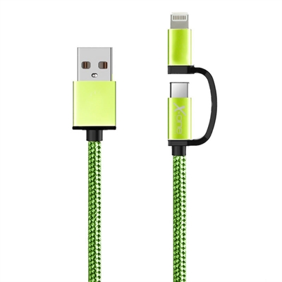Ver X One CDL1000GR Cable USB a Micro iPhone Verde