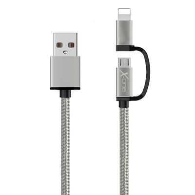 Ver X One CDL1000S Cable USB a Micro iPhone Plata