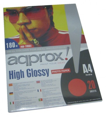 Approx App180a4 Papel Glossy A4 20 Hojas 180g