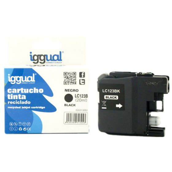 iggual Cartucho Reciclado Brother LC123BK Negro