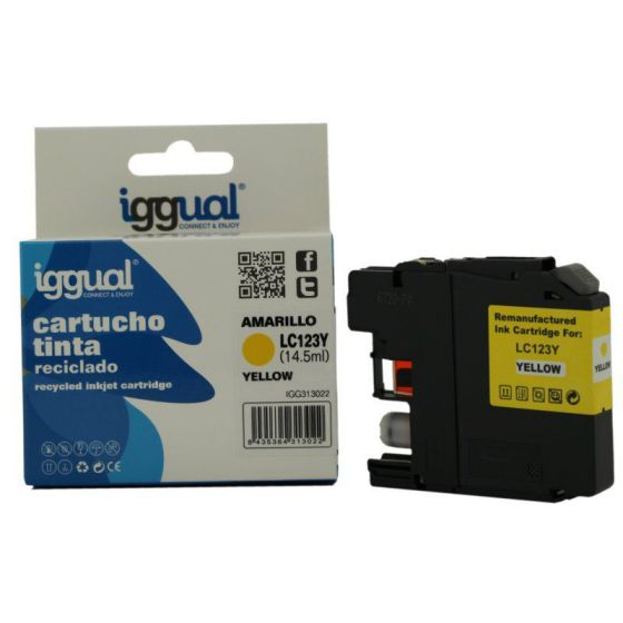 iggual Cartucho Reciclado Brother LC123Y Amarillo