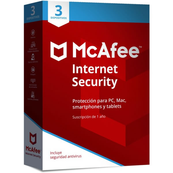 Ver ANTIVIRUS MCAFEE INTERNET SECURITY 2018 3 DISPOSI
