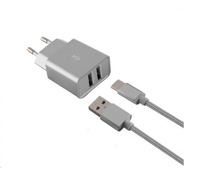 CARGADOR MOVIL KSIX 2XUSB 24A 1 CABLE MICRO USB GRIS