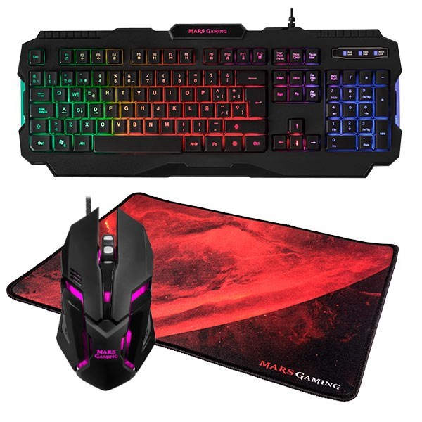 KIT TECLADO RATON Y ALFOMBRILLA MARS GAMING MCP118