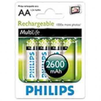 Pilas Philips Recargable Aa 2600 Mha Ni-mh Pack 4u