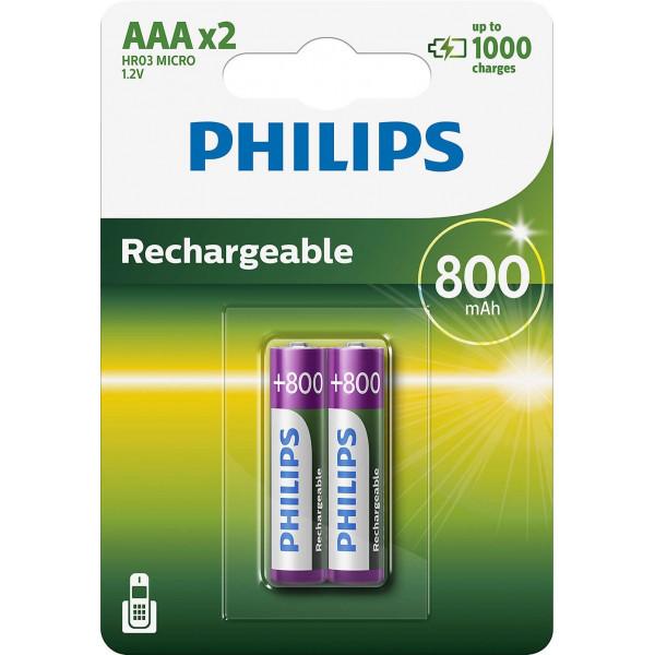 Pilas Philips Recargable R03b4a70 Aaa 800mah Pack2