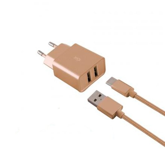CARGADOR MOVIL KSIX 2XUSB 24A 1 CABLE MICRO USB