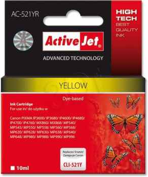 Ver CARTUCHO COMP ACTIVEJET CANON CLI 521Y YELLOW