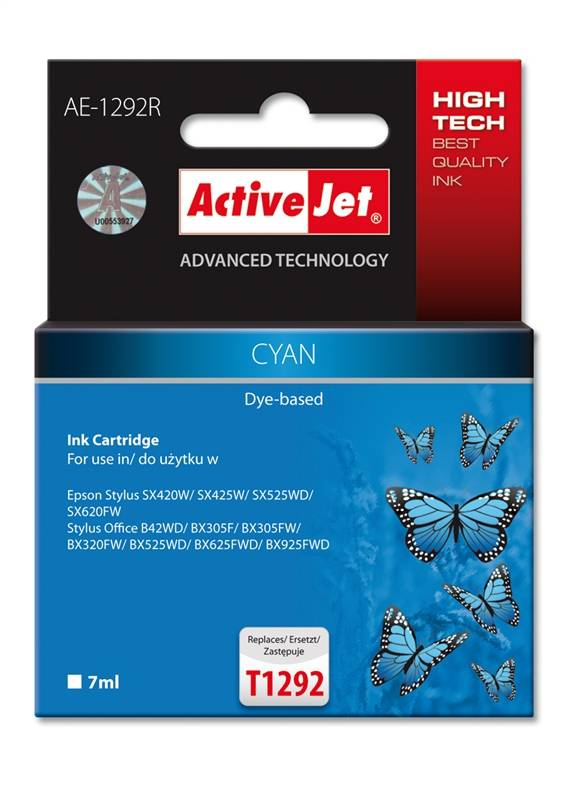 Ver ACTIVEJET EPSON T1292 CYAN AE 1292R