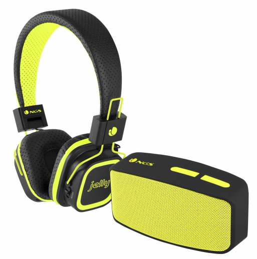 Ver PACK AURICULAR ALTAVOZ NGS GLITTER AMARILLO