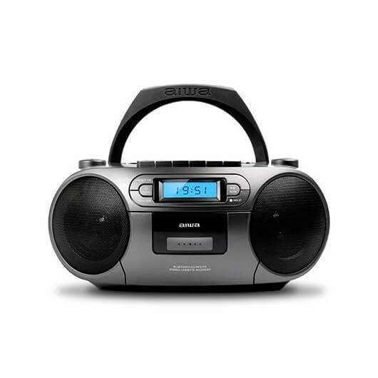 Radio Cd Casete Aiwa Boombox Bbtc 550mg Gris Casetecdusb