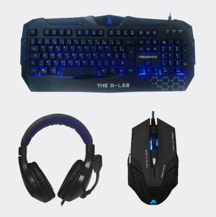 Ver TECLADO RATON AURICULARES MOUSEPAD G LAB GAMING USB