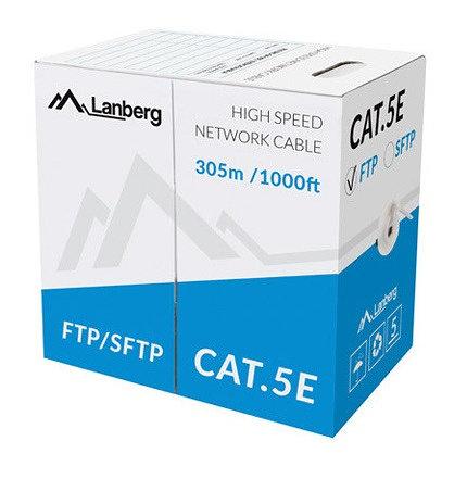 BOBINA CAT5E LANBERG SFTP 305M SOLID CU CPR  FLUKE PASSED GRIS