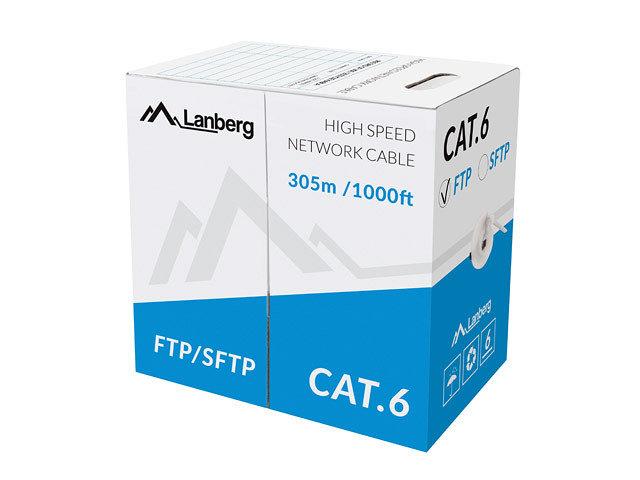 BOBINA CAT6 LANBERG FTP 305M SOLID CU CPR  FLUKE PASSED GRIS
