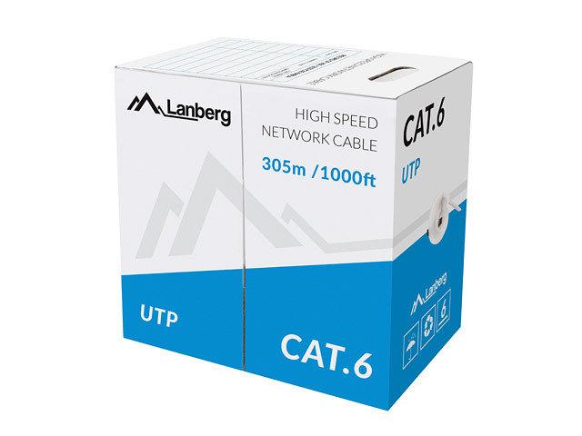 BOBINA CAT6 LANBERG UTP 305M SOLID CU CPR  FLUKE PASSED GRIS