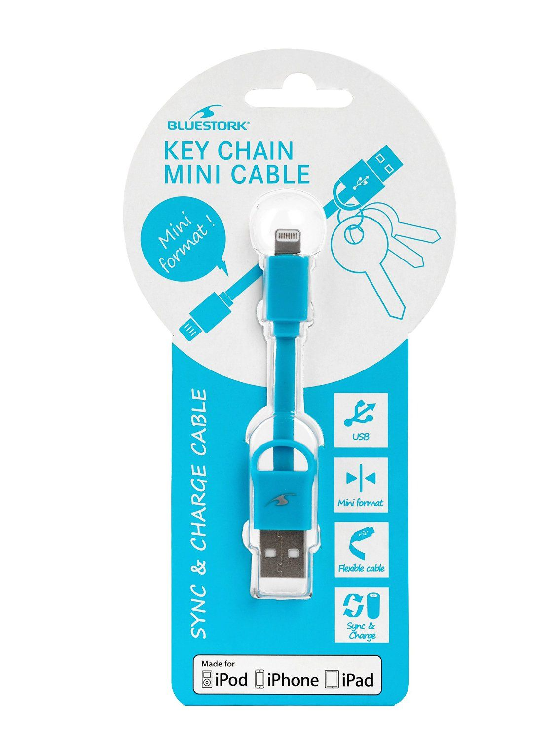 Ver CABLE APPLE USB LIGHTNING MFI KEYCHAIN 9 cm BLUE