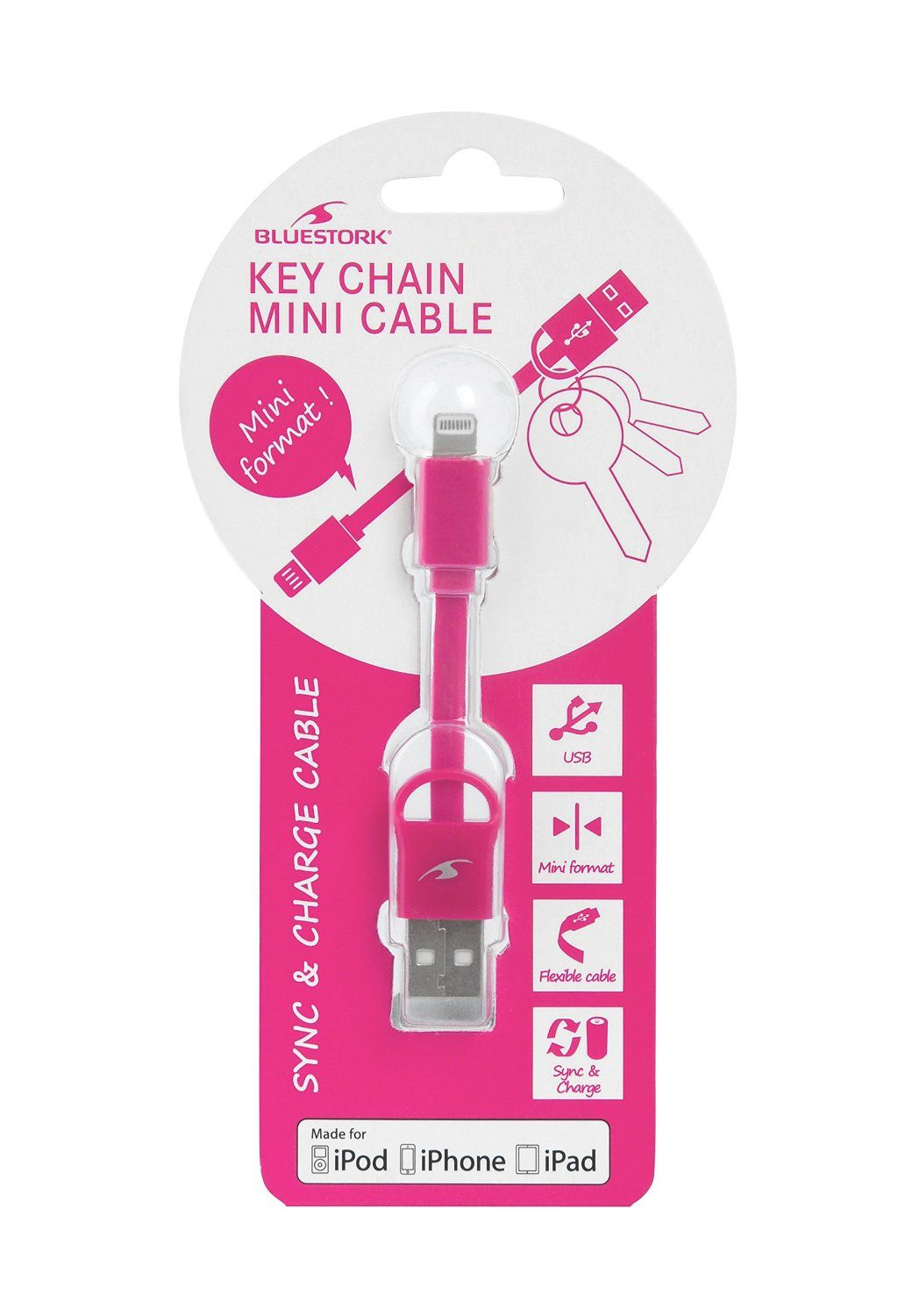 Ver CABLE APPLE USB LIGHTNING MFI KEYCHAIN 9 cm PINK