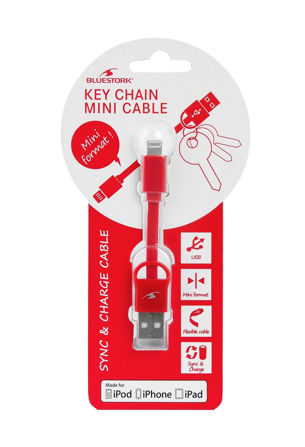 Ver CABLE APPLE USB LIGHTNING MFI KEYCHAIN 9 cm RED