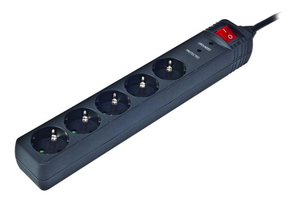Gembird SPG5 C 10 5AC outlet s 250V 3m Negro limitador de tension