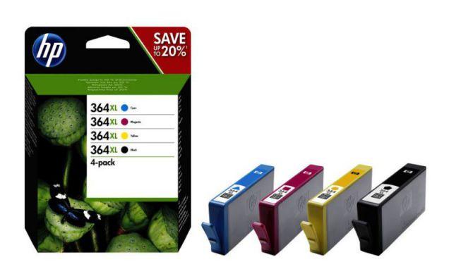 HP Pack de ahorro de 4 cartuchos de tinta original 364XL