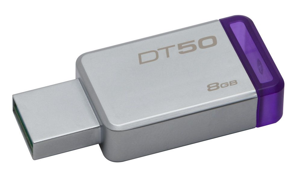 Ver Kingston DataTraveler 50 8GB USB 3 0 3 1 Gen 1 Type A Purpura Plata