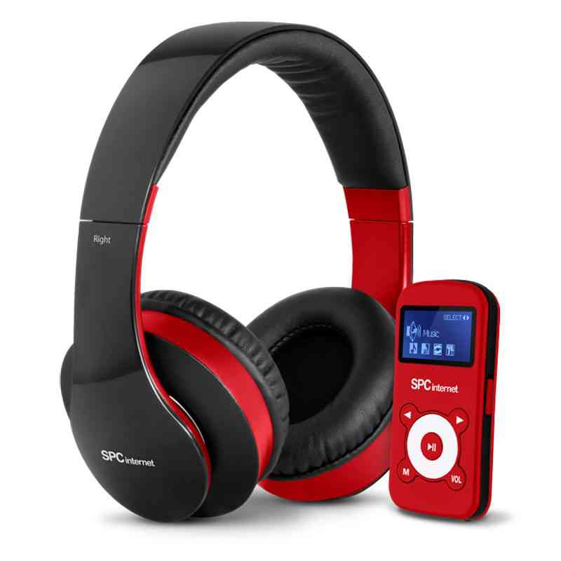 Mp3 Rojo Usb 4gb  Cascos Dj
