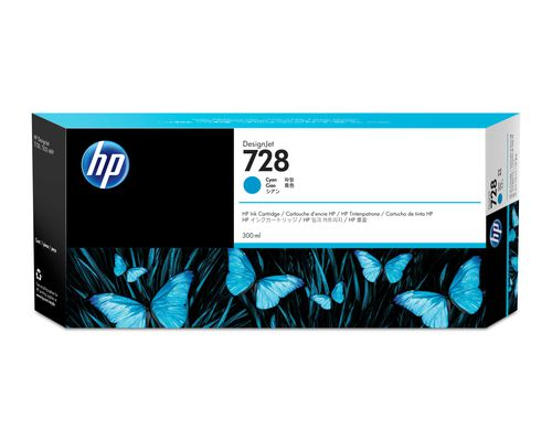 HP 728 300 ml Cyan DesignJet Ink Cartridge