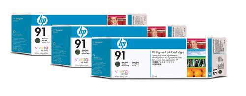 HP Pack de 3 cartuchos de tinta 91 negro mate de 775 ml