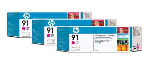 HP Pack de ahorro de 3 cartuchos de tinta 91 magenta de 775 ml