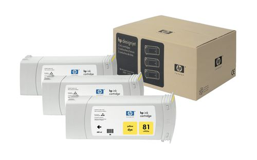 HP Pack de ahorro de 3 cartuchos de tinta colorante DesignJet 81 amarillo de 680 ml