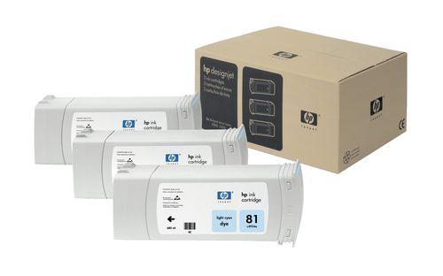 HP Pack de ahorro de 3 cartuchos de tinta colorante DesignJet 81 cian claro de 680 ml