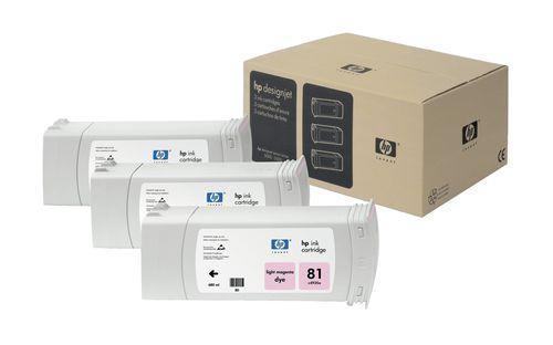 HP Pack de ahorro de 3 cartuchos de tinta colorante DesignJet 81 magenta claro de 680 ml