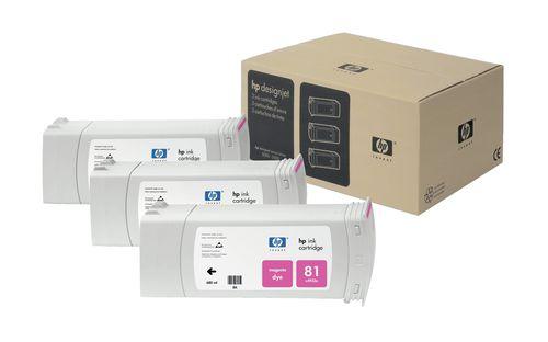 HP Pack de ahorro de 3 cartuchos de tinta colorante DesignJet 81 magenta de 680 ml