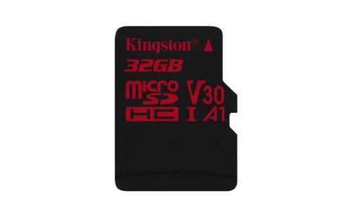Ver KINGSTON 32GB MICROSDHC CANVAS REACT 10070 U3 UHS I V30 A1 SINGLE PACK WO ADP